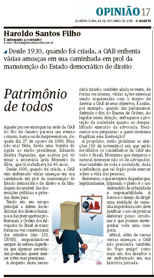 OAB_Patrimonio_de_todos_Gazeta_14-10-2015_